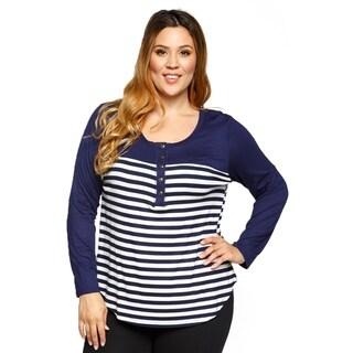 Xehar Womens Plus Size Casual Long Sleeve Striped Henley Tee Tunic Top