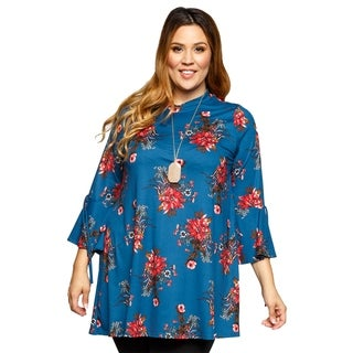 Xehar Womens Plus Size Stylish Mock Neck Floral Print Tunic Top