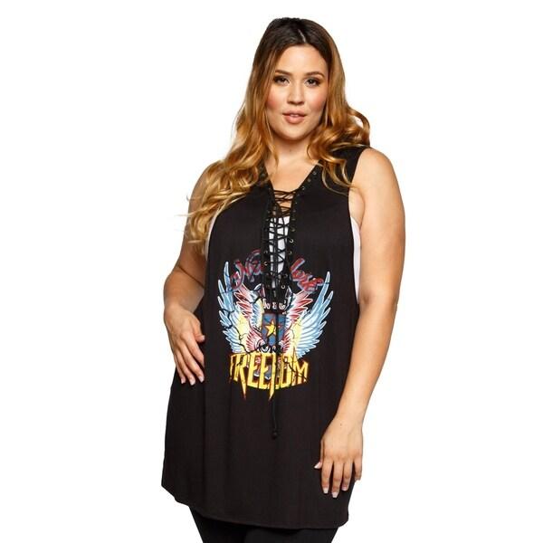5aaab3abb87 Shop Xehar Womens Plus Size Sleeveless NYC Freedom Graphic Print ...