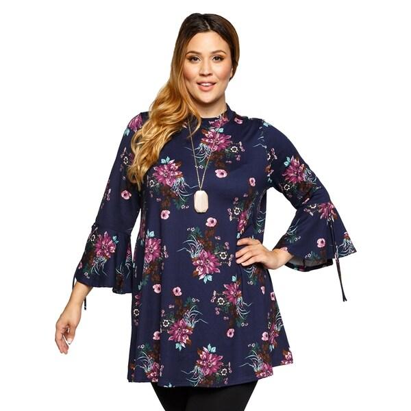 09776a225f68f2 Shop Xehar Womens Plus Size Stylish Mock Neck Floral Print Tunic Top ...