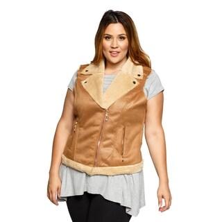 Xehar Womens Plus Size Faux Fur Shearling Fashion Jacket Vest
