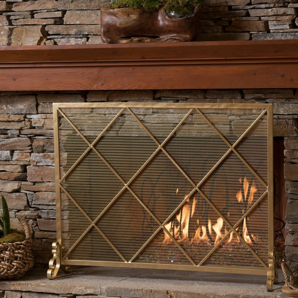Shop Howell Single Panel Iron Fireplace Screen By Christopher Knight