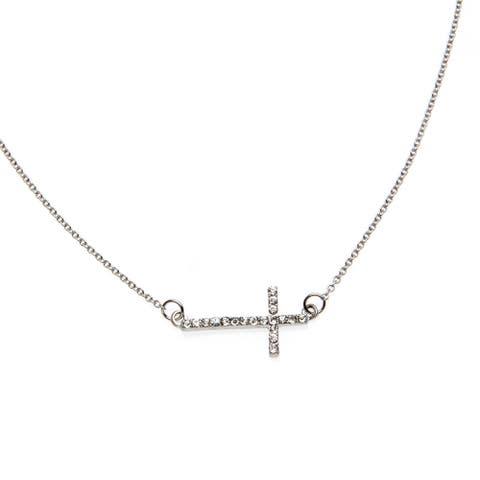 Silvertone Rhinestone Sideways Cross Necklace - Silver