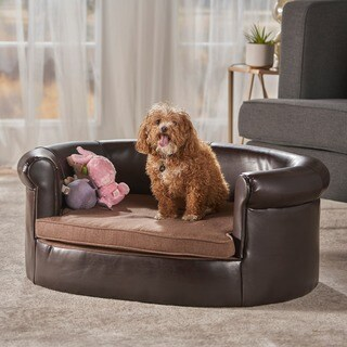 Chelsei Oval Faux PU Leather Dog Bed by Christopher Knight Home