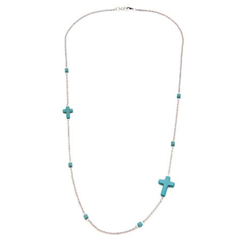 Goldtone or Silvertone Created Turquoise Sideways Cross Necklace
