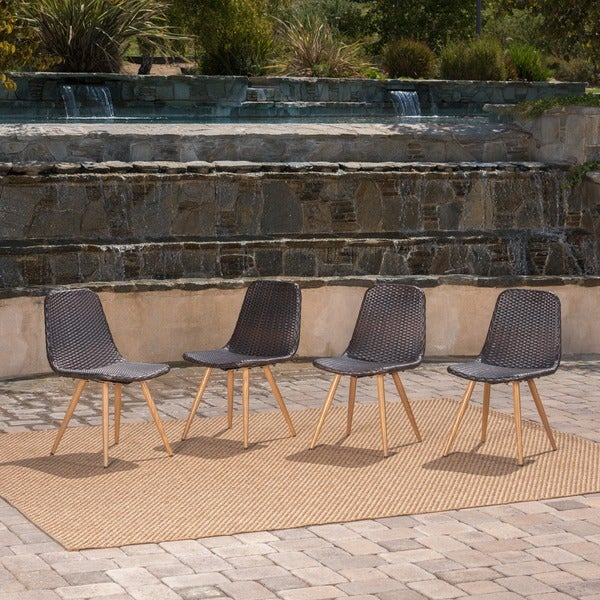 Gila Outdoor Wicker Dining Chair (Set of 4) by Christopher Knight Home. Opens flyout.