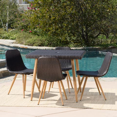 Gila Outdoor 5-Piece Square Wicker Dining Set with Umbrella Hole by Christopher Knight Home