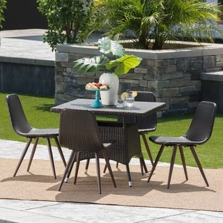 Harper Outdoor 5-Piece Square Wicker Dining Set by Christopher Knight Home