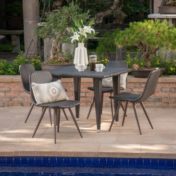 Tongass Outdoor 5-Piece Square Wicker Dining Set by Christopher Knight Home. Opens flyout.