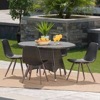 Hugo Outdoor 5-Piece Round Wicker Dining Set with Umbrella Hole by Christopher Knight Home