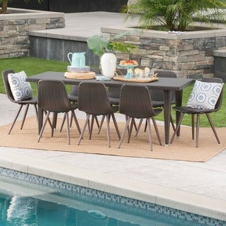 Luke Outdoor 9-Piece Rectangle Wicker Dining Set by Christopher Knight Home