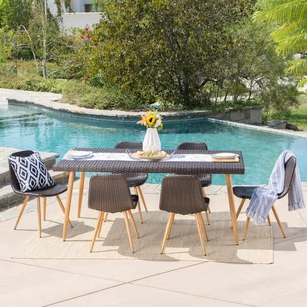 Gila Outdoor 7-Piece Rectangle Wicker Dining Set by Christopher Knight Home. Opens flyout.