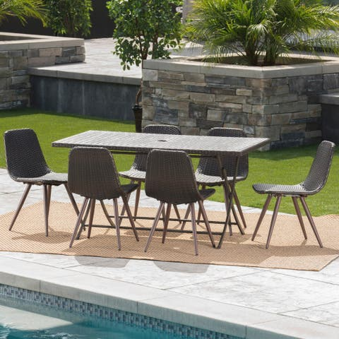 Lrya Outdoor 7-Piece Rectangle Foldable Wicker Dining Set with Umbrella Hole by Christopher Knight Home