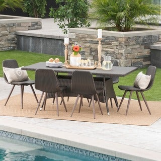 Ezra Outdoor 7-Piece Rectangle Wicker Dining Set by Christopher Knight Home