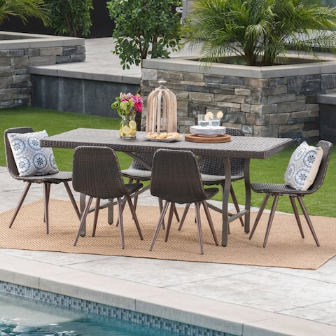 Nina Outdoor 7-Piece Rectangle Wicker Dining Set by Christopher Knight Home