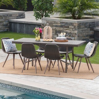 Nina Outdoor 7-Piece Rectangle Foldable Wicker Dining Set by Christopher Knight Home