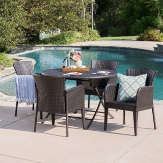 Bram Outdoor 5-Piece Round Foldable Wicker Dining Set with Umbrella Hole by Christopher Knight Home