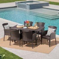 Kylon Outdoor 7-Piece Rectangle Foldable Wicker Dining Set with Umbrella Hole by Christopher Knight Home