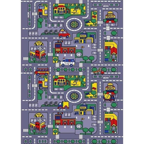SINTECHNO SA-CITY57 Kids City Map Children Area Rug - Grey - 5' x 8'