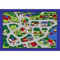 SINTECHNO SA-STGREY57 Kids Street Map Blue/Gray Area Rug