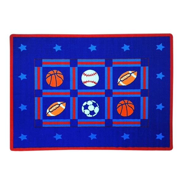 SINTECHNO SA-SPORTS57 Kids Sports Area Rug - Blue - 5' x 8'