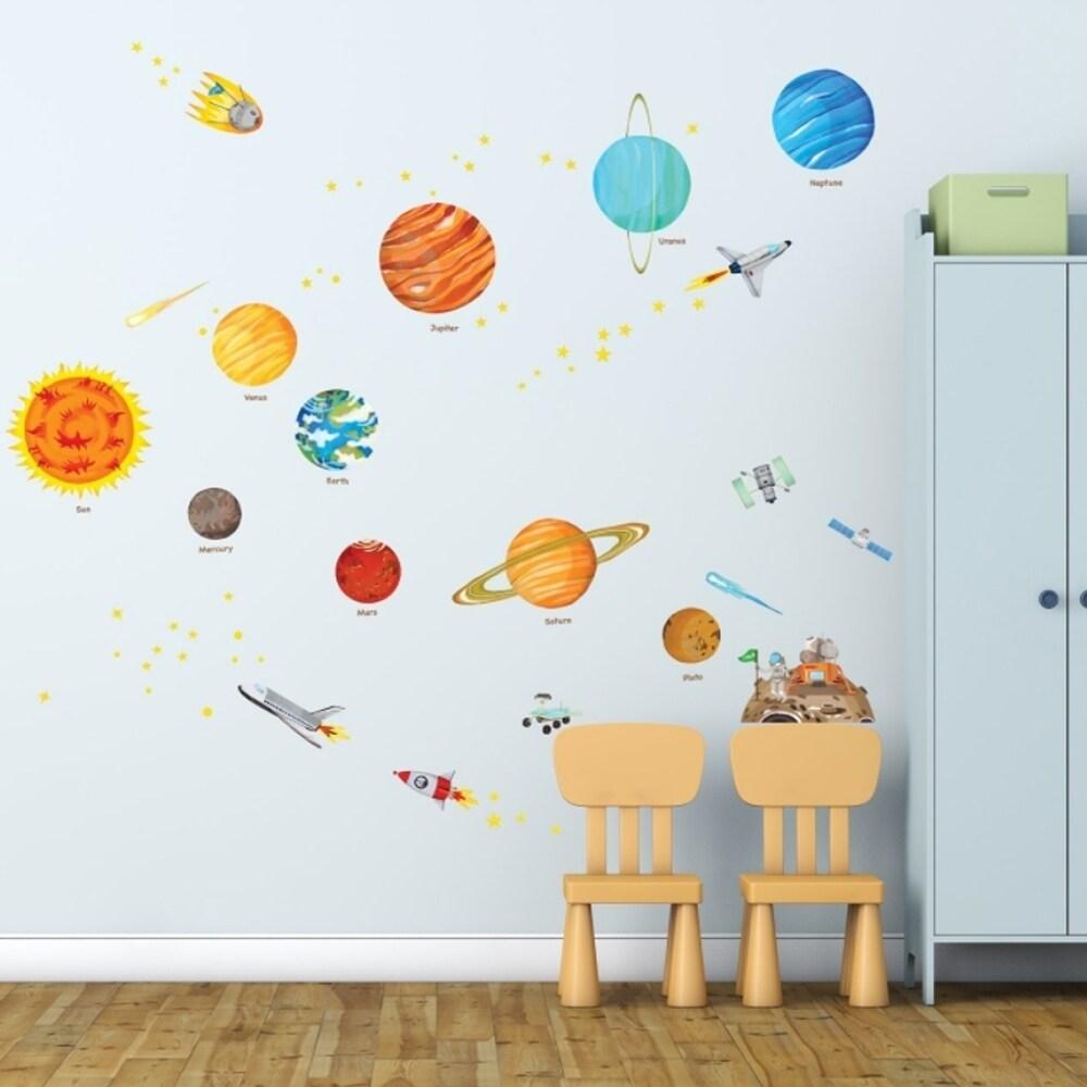 The Solar System Peel and Stick Nursery Kids Wall Vinyl D...