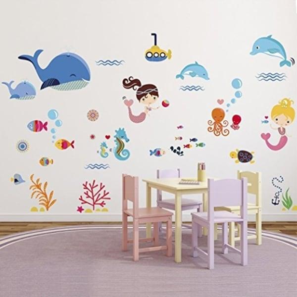 Shop Mermaids Decorative Peel & Stick Wall Art Sticker Decals Wall ...