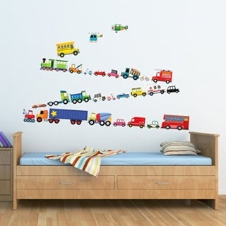 Transports Peel and Stick Nursery Kids Wall Decals Stickers Wall Vinyl