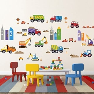 City Construction Decorative Peel & Stick Wall Art Sticker Decals Wall Vinyl
