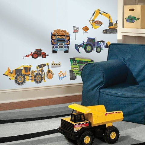 Construction Vehicles Peel and Stick Wall Decals, 18 Count, 1-Pack Wall Vinyl