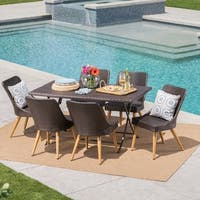 Fritz Outdoor 7-Piece Rectangle Foldable Wicker Dining Set with Umbrella Hole by Christopher Knight Home