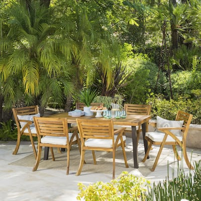 Della 7-piece Cushioned Acacia Dining Set by Christopher Knight Home