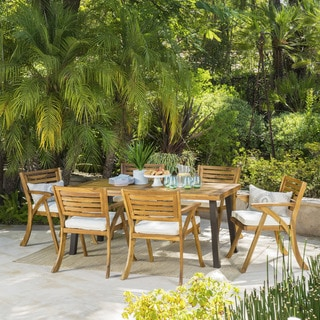 Link to Della Outdoor 7-Piece Rectangle Acacia Wood Dining Set with Cushions by Christopher Knight Home Similar Items in Patio Furniture