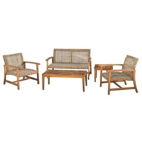 Hampton Outdoor 4-Piece Acacia Wood Chat Set by Christopher Knight Home