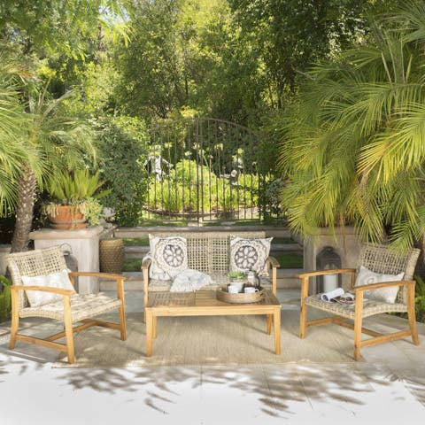 Hampton Outdoor 4-piece Acacia Chat Set by Christopher Knight Home