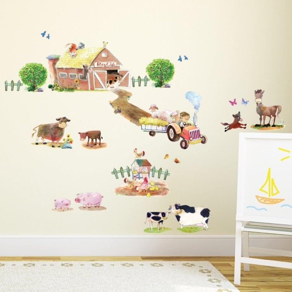 Pony Club & Farm Animals Peel and Stick Nursery Kids Wall...