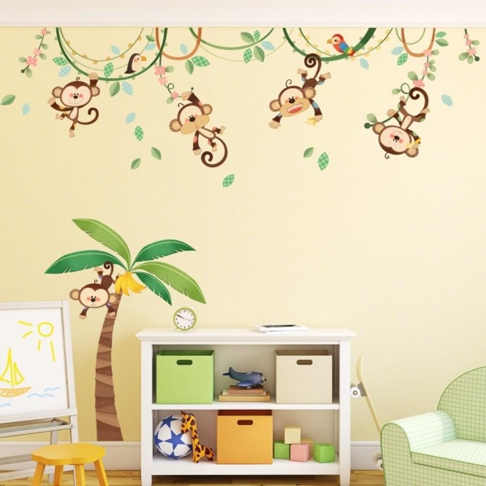 Monkeys on Vine Peel and Stick Nursery Kids Wall Decals S...