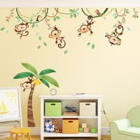 Monkeys on Vine Peel and Stick Nursery Kids Wall Decals Stickers  Wall Vinyl