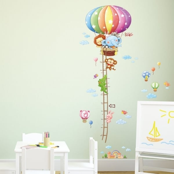 Animal Hot Air Balloons Height Chart L Stick Nursery Wall Decals Stickers Vinyl