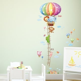 Animal Hot Air Balloons Height Chart peel & stick Nursery wall decals stickers Wall Vinyl