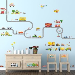 The Road & Transports Peel and Stick Nursery Kids Wall Decals Stickers Wall Vinyl