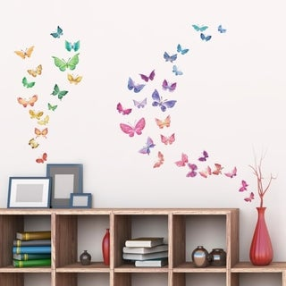 Watercolour Butterflies Peel and Stick Nursery Kids Wall Decals Stickers Wall Vinyl
