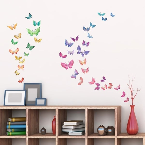 Shop Watercolour Butterflies Peel And Stick Nursery Kids