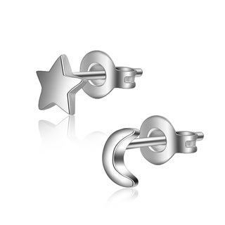 Orchid Jewelry Silver Overlay Star and Moon Stud Earrings
