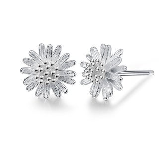 Orchid Jewelry Silver Overlay Floral Stud Earrings