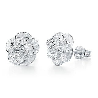 Orchid Jewelry Silver Overlay Textured Flower Stud Earrings