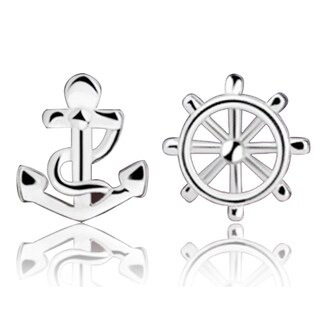Orchid Jewelry Silver Overlay 'Anchor & Wheel' Stud Earrings