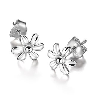 Orchid Jewelry Silver Overlay Flower Stud Earrings
