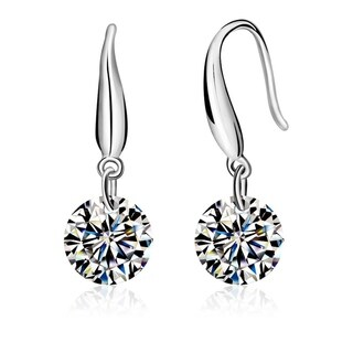 Orchid Jewelry 18k White Gold Overlay Cubic Zirconia Solitaire Dangle Earrings - Silver