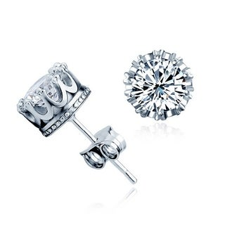 Orchid Jewelry 18k White Gold Overlay Cubic Zirconia Crown Stud Earrings - Silver